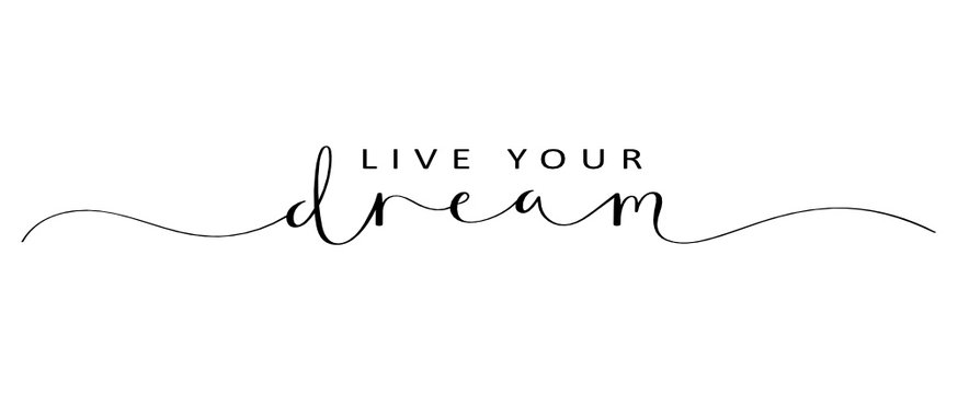 LIVE YOUR DREAM brush calligraphy banner