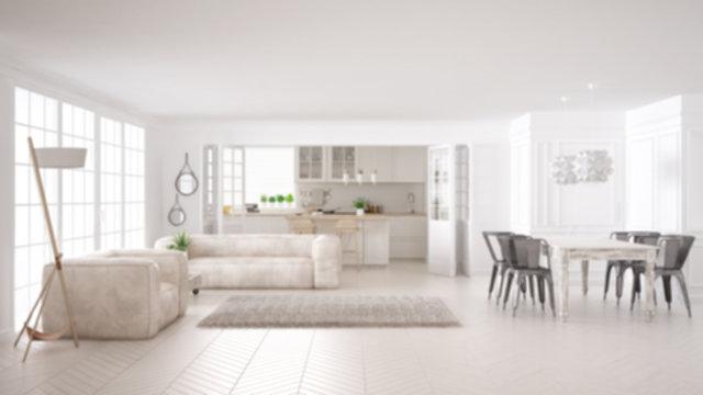 Blur background interior design, minimalist white living room and kitchen, big window and carpet fur, scandinavian classic interior design concept idea