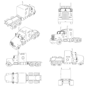 Set with the contours of the truck without a trailer in different positions. The contour of the truck front, side, rear view, isometric. Vector illustration
