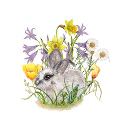 Hand drawn bunny on wildflowers background