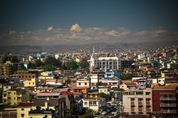 Aerial panoramic view to Antananarivo, capital of Madagascar