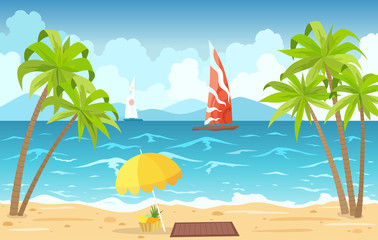 Sea beach and sun loungers. Seascape, vacation banner with sailing ships, palms, beach umbrella and clouds. Cartoon vector illustration - Vector.