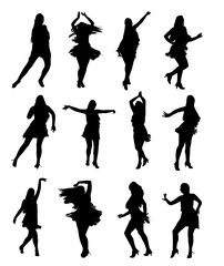 Set of professional latino woman dancer in motion. Easy editable layered vector illustration.