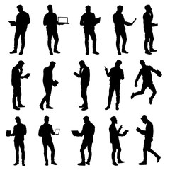 Set of working business man using laptop and tablet silhouettes. Easy editable layered vector illustration.