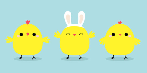 Chicken bird set line. Face head wearing rabbit bunny ears band. Cute cartoon funny kawaii baby character. Happy Easter. Friends forever. Flat design. Greeting card. Blue pastel color background.