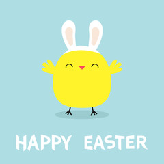Chicken bird face head wearing bunny rabbit ears band. Happy Easter. Cute cartoon funny kawaii baby character. Flat design. Greeting card. Blue pastel color background.
