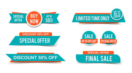 Set of Sale tags or banners, special offer headers, discount stickers. Vector elements for website design