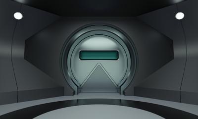 Futuristic round metallic door in room wall