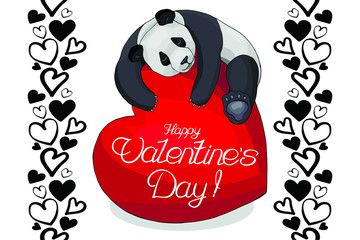 valentine's day panda heart