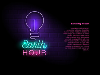 Earth hour neon sign