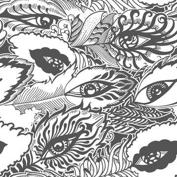 seamless pattern of bizarre feathers