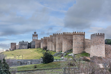 Avila (Castile and Leon, Spain): the famous medieval walls that surround the city. UNESCO World Heritage Site