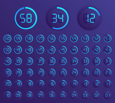 Set of timers. Sign icon.