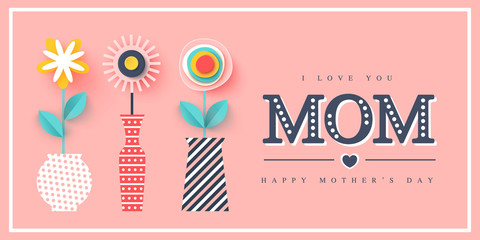 Happy Mothers day greeting card. Paper cut flowers, holiday background. Vector illustration.