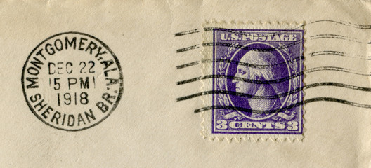 The United states of america - 22 Dec 1918: American historical stamp: three cents with George Washington with black ink postal cancellation, Alabama, Montgomery, Sheridan