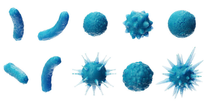 Abstract background virus. Set of virus. Virus icon set. Virus isolated on white background. Colorful bacteria, microbes fungi. Pathogenic viruses that cause harm to a living organism. 3D Illustration