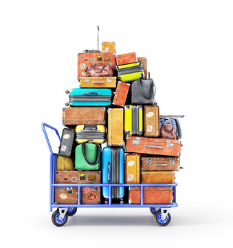 Pile of various styles of suitcases isolated on a white. 3d illustration