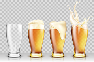 Set of various full and empty beer glasses. Isolated on transparent background. Realistic vector illustration