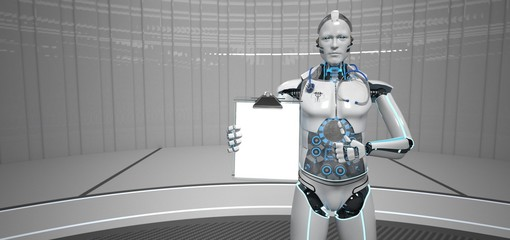 Fototapete - Robot Medical Assistant Clipboard Ok