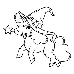 Halloween unicorn with magic wand and witch hat.