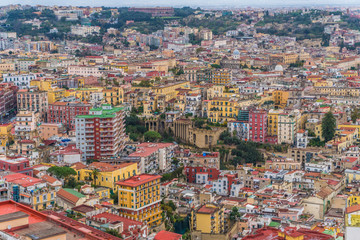Panorama of Naples, view of the port in the Gulf of Naples. The province of Campania. Italy.