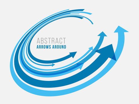 Blue abstract arrow around circle vector design