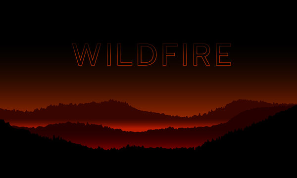 wildfire on fire burning mountain in night time abstract vector design