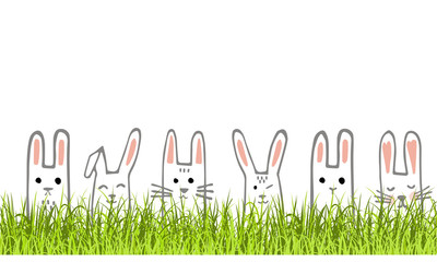 Happy Easter banner with bunny faces and grass. Rabbits border or greeting card. Vector