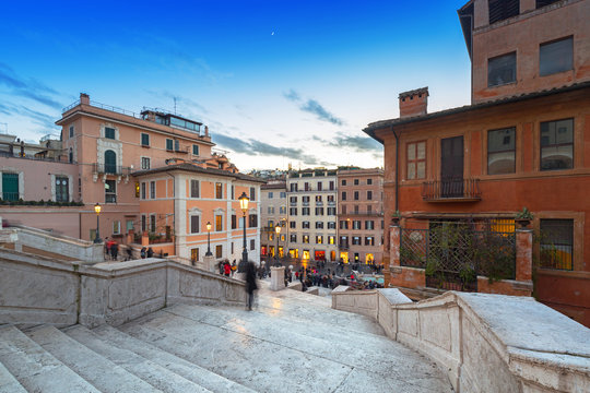The Spanish steps in Rome at dusk, Italy