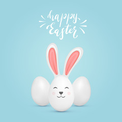 Cute Easter Rabbit and Eggs on Blue Background