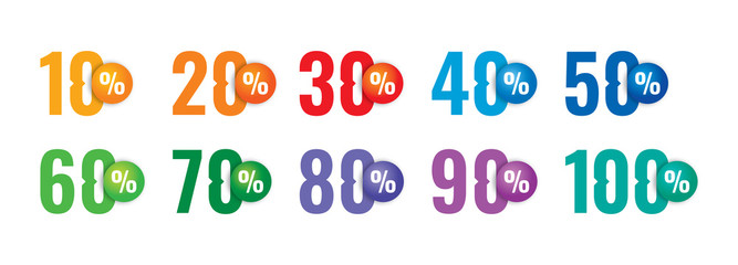 colorful percentile numbers concept