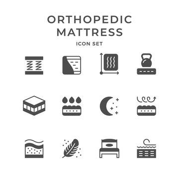 Set icons of orthopedic mattress