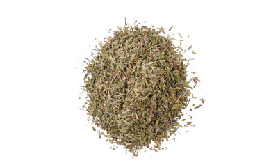 thyme herb heap isolated on white background. top view