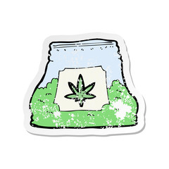 retro distressed sticker of a cartoon bag of weed