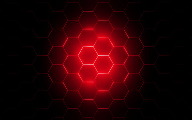 3d illustration of modern honeycomb with red light