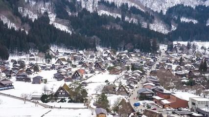 Wall Mural - Winter snow of Shirakawago in Gifu, Japan time lapse