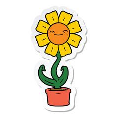 sticker of a happy cartoon flower