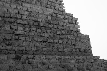Abstract black and white photo of a pyramid in Sudan from close up