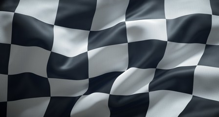 Black and white checkered racing flag.