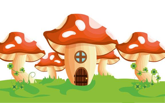 raw mushroom house cartoon