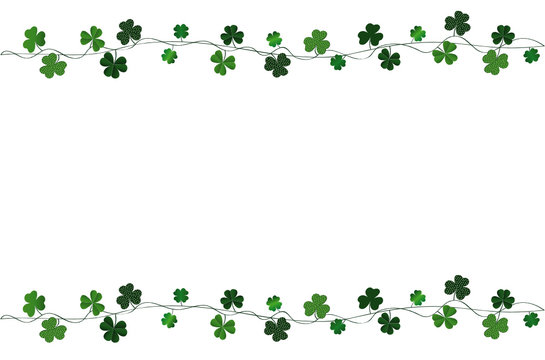 Green festive bunting with clover. Irish holiday - Happy St. Patrick's Day with a garland of three-leaf. Greeting card, poster, banner. Vector