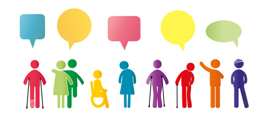 Mentally and physically disabled. Colorful pictograms