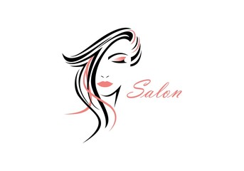 Women face, hair salon logo vector