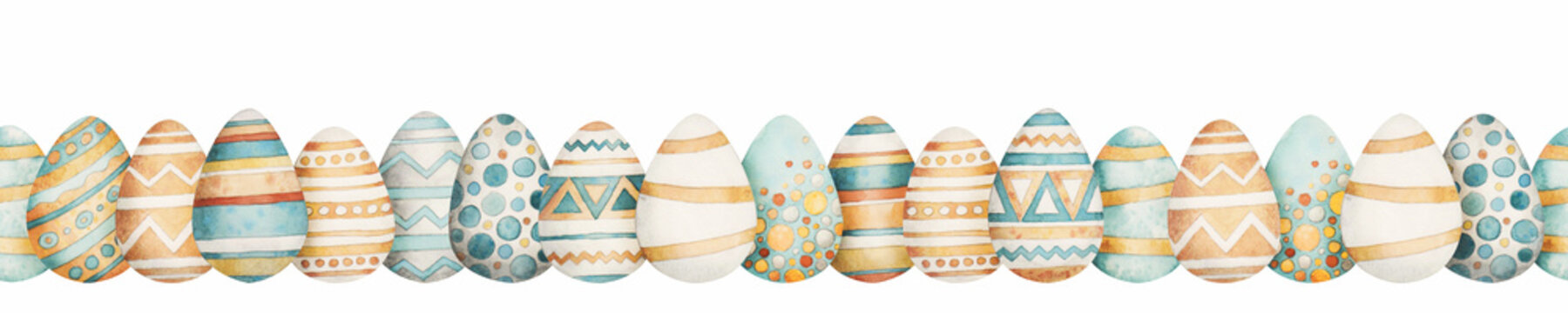 Easter border in watercolor style. Beautiful seamless border with easter eggs. Can be used for printed products: wallpaper, wrapping paper, napkins, postcards, stickers, printing on fabric.