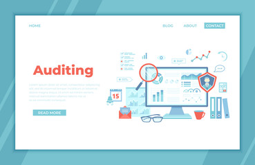 Auditing, analysis, accounting, calculation, analytics. Auditor checks the documents. Graphs, charts on the monitor screen. landing page template or web banner, infographics. Vector