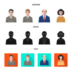 Vector illustration of hairstyle and profession  symbol. Collection of hairstyle and character  stock symbol for web.