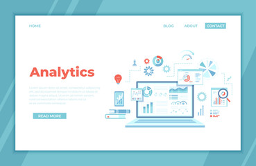 Analytics concept, Analysis, Analyzing, Data processing, Success strategy. Laptop with graphs and charts and  Infographic Elements. landing page for web, banner. Vector illustration.