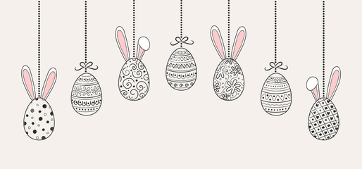 Decoration with hanging Easter eggs with cute bunny ears. Vector
