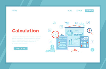 Calculation concept. Bookkeeping, audit, data analysis, reporting, tax accounting.  Projector screen with charts, diagrams, graphs, checklist, calculator, money. landing page for web, banner. Vector