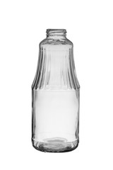 empty glass bottle with a wide neck isolated on a white background